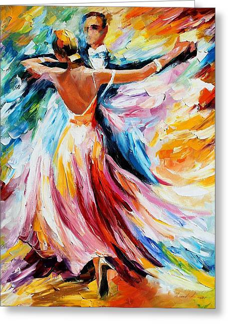 Waltz - Palette Knife Oil Painting On Canvas By Leonid Afremov Greeting Card by Leonid Afremov