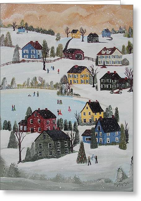 Waltzing Snow Greeting Card by Virginia Coyle