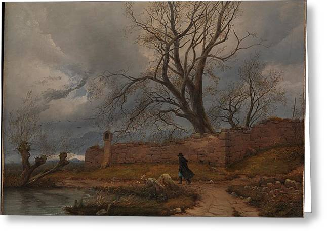 Wanderer In The Storm Greeting Card by Julius von Leypold