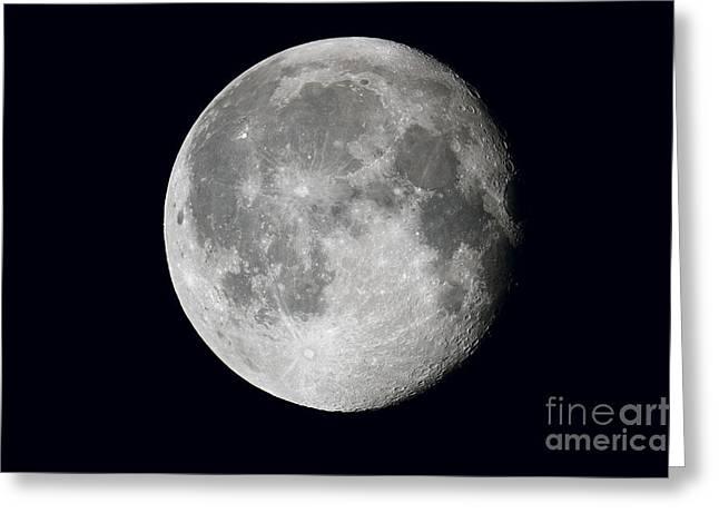 Waning Moon And Lunar Landscape Greeting Card by John Chumack