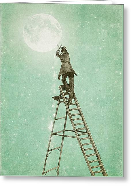 Waning Moon Greeting Card by Eric Fan
