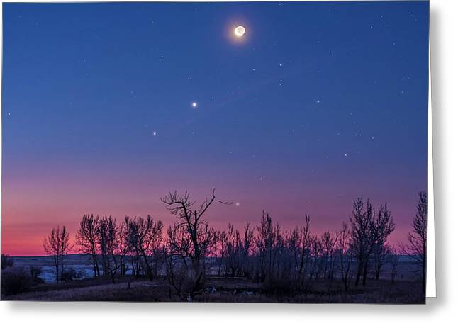Waning Moon With Venus & Saturn Greeting Card by Alan Dyer