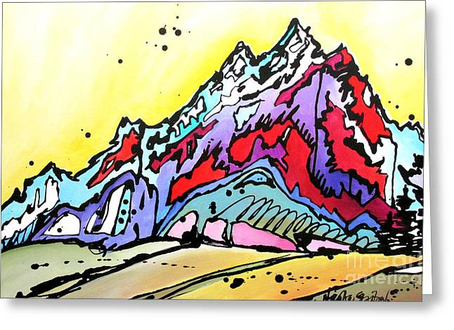 Greeting Card featuring the painting Waning Seasons In The Tetons by Nicole Gaitan