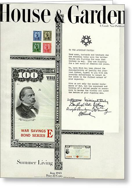 War Bonds, Stamps And A Letter Greeting Card