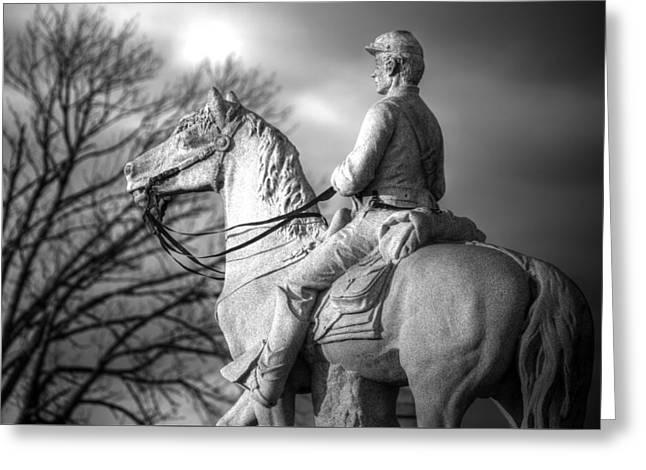 War Horses - 8th Pennsylvania Cavalry Regiment Pleasonton Avenue Sunset Autumn Gettysburg Greeting Card by Michael Mazaika
