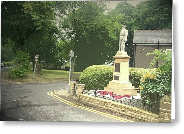 War Memorial And Village Green In Dore, The Stone Greeting Card by Litz Collection