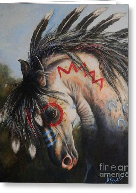 War Pony #3 Chieftan Greeting Card by Amanda Hukill