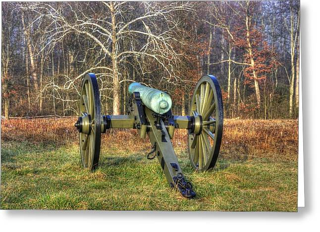 Greeting Card featuring the photograph War Thunder - 1st New York Light Artillery-a1 Battery D The Wheatfield Gettysburg by Michael Mazaika