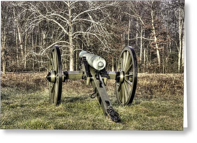 Greeting Card featuring the photograph War Thunder - 1st New York Light Artillery-a2 Battery D The Wheatfield Late Winter Gettysburg by Michael Mazaika