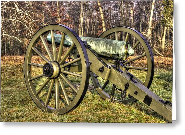 Greeting Card featuring the photograph War Thunder - 1st New York Light Artillery-c2 Battery D The Wheatfield Late Winter Gettysburg by Michael Mazaika