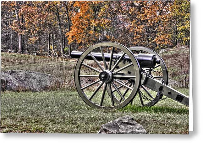 Greeting Card featuring the photograph War Thunder - 4th New York Independent Battery Crawford Avenue Gettysburg by Michael Mazaika