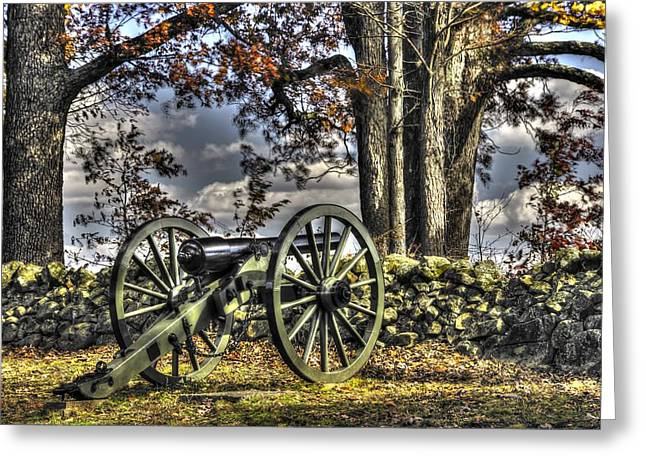 Greeting Card featuring the photograph War Thunder - Lane's Battalion Ross's Battery-a1 West Confederate Ave Gettysburg by Michael Mazaika