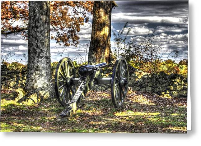 Greeting Card featuring the photograph War Thunder - Lane's Battalion Ross's Battery-b1 West Confederate Ave Gettysburg by Michael Mazaika