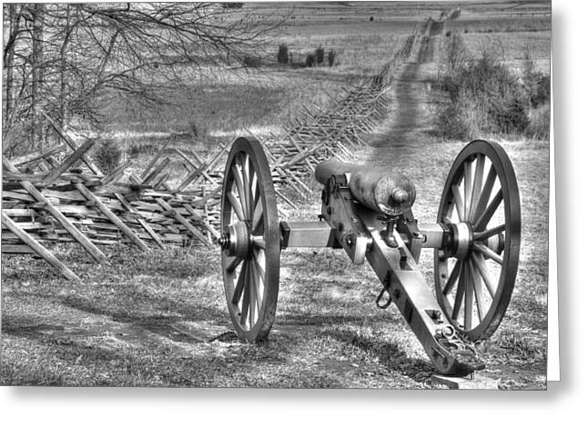Greeting Card featuring the photograph War Thunder - Poague's Battalion Brooke's Va Battery West Confederate Avenue Gettysburg by Michael Mazaika