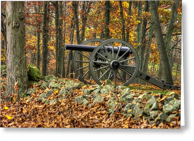 Greeting Card featuring the photograph War Thunder - The Albemarle Va Artillery Wyatt's Battery West Confederate Ave Gettysburg by Michael Mazaika