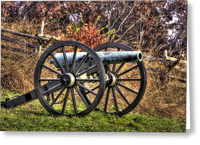 Greeting Card featuring the photograph War Thunder - The Morris Artillery Page's Battery Oak Hill Gettysburg by Michael Mazaika