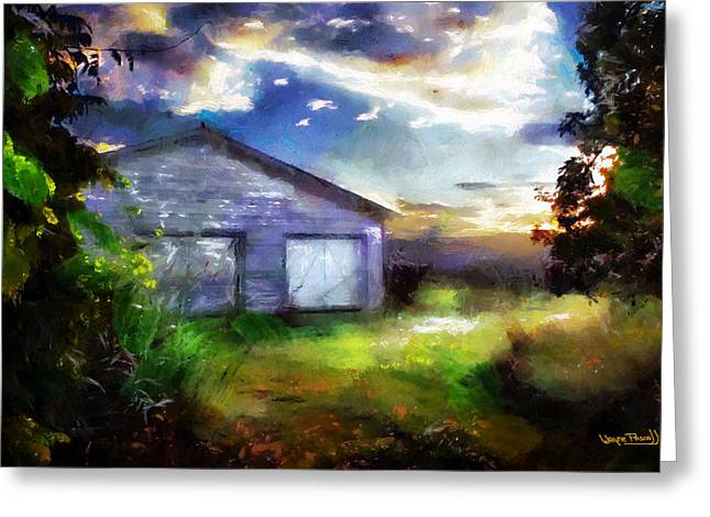 Greeting Card featuring the painting Warehouse Escape by Wayne Pascall