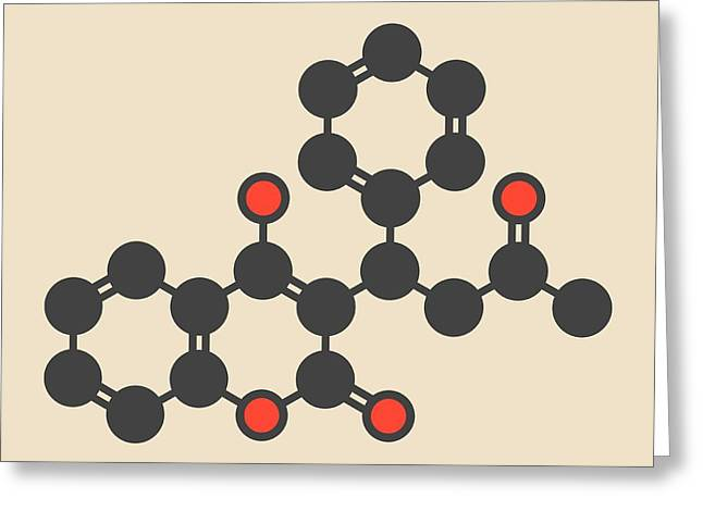 Warfarin Anticoagulant Drug Molecule Greeting Card by Molekuul