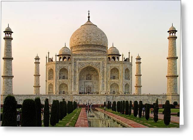 Warm Evening View Taj Mahal Greeting Card by Linda Phelps