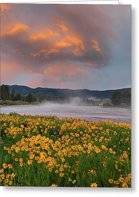 Warm River Sunset Greeting Card by Leland D Howard