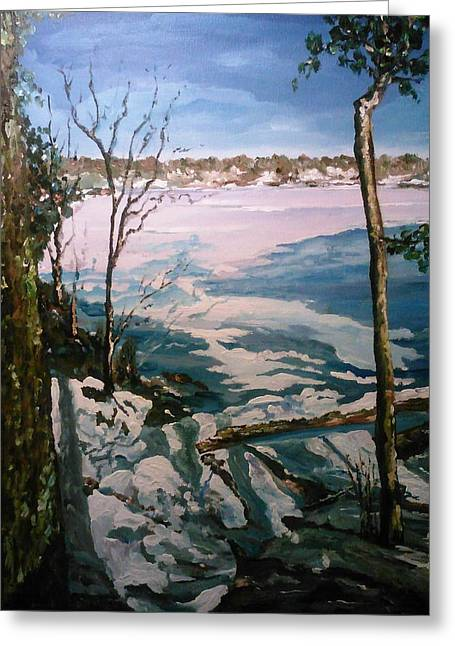 Greeting Card featuring the painting Warm Snow In The Sassaquin Pond-neighborhood by Ray Khalife
