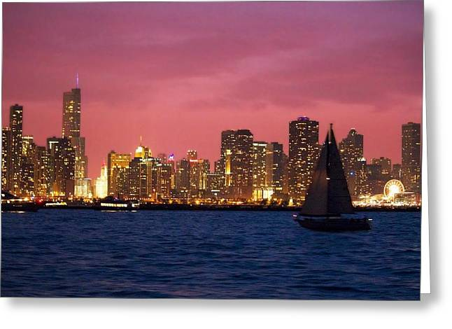 Warm Summer Night Chicago Style Greeting Card
