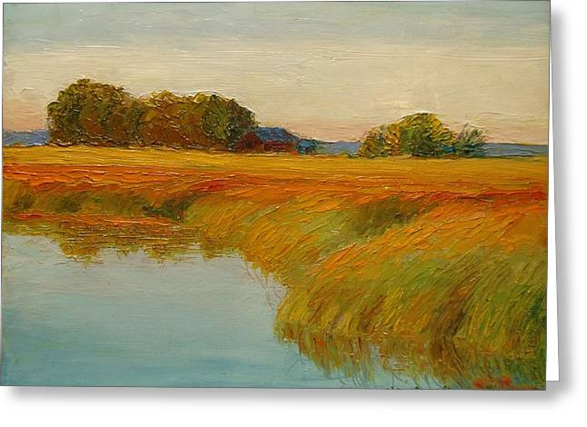 Warm Sunset On The Bog Greeting Card by Nicolas Bouteneff