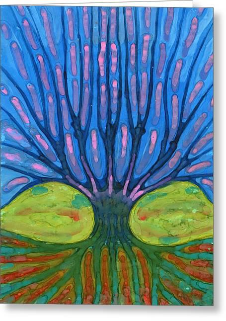 Warm Tree Greeting Card by Wojtek Kowalski