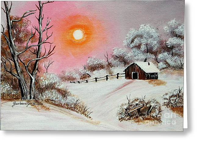 Warm Winter Day After Bob Ross Greeting Card by Barbara Griffin