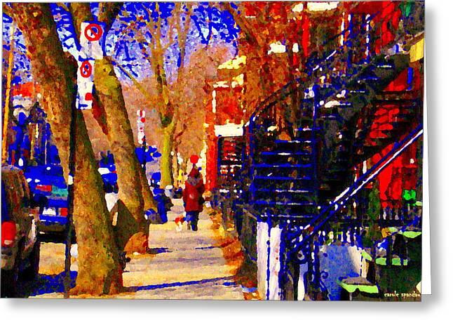 Warm Winter Walk With Little Dog Streets Of Montreal Blue Spiral Staircase Cityscene  Carole Spandau Greeting Card by Carole Spandau