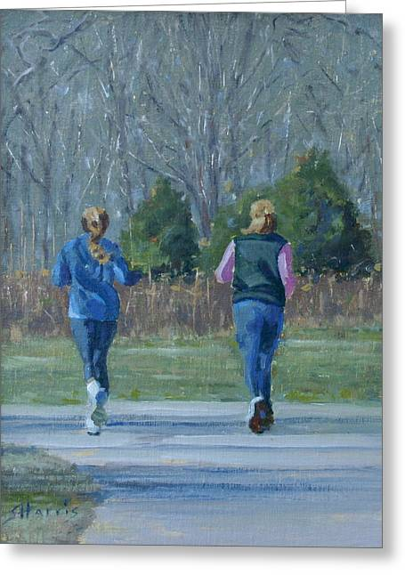Warner Park Runners Greeting Card by Sandra Harris