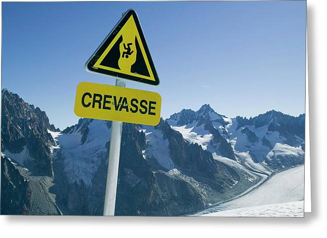 Warning Sign Above Mer Du Glace Greeting Card by Ashley Cooper