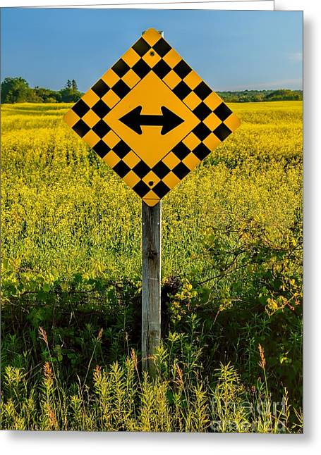 Warning - Yellow On Both Sides Greeting Card by Henry Kowalski