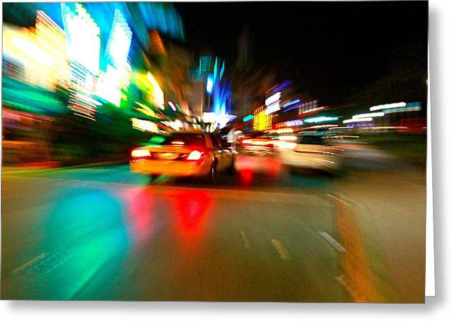 Warp Taxi Greeting Card by Gary Dunkel