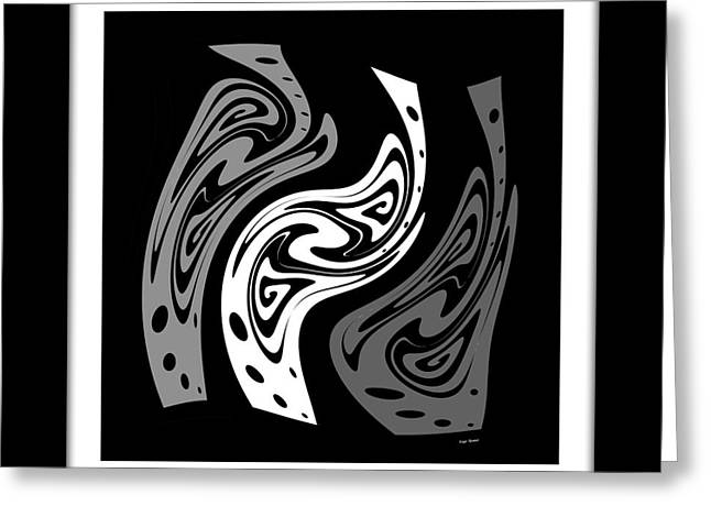 Warped Abstract In Black And White Greeting Card by Kaye Menner