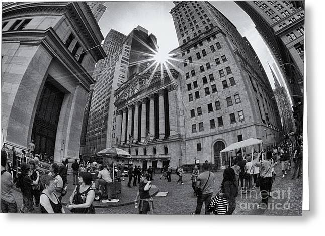 Warped Wall Street Greeting Card by Mark Miller