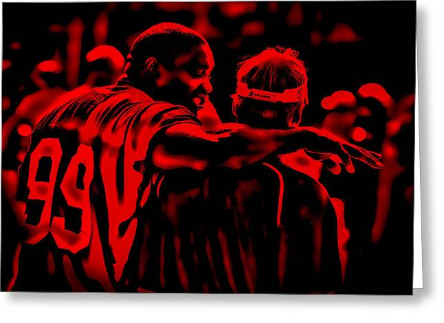 Warren Sapp And Jon Gruden Greeting Card by Brian Reaves