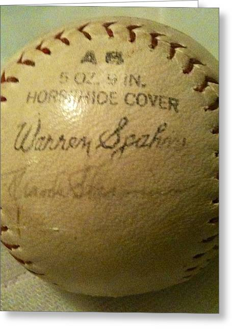 Warren Spahn Baseball Autograph Greeting Card by Lois Ivancin Tavaf