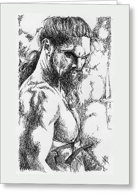Warrior Greeting Card by KM Male Nudes