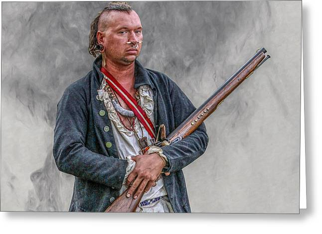 Warrior With Musket Portrait Greeting Card by Randy Steele