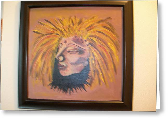 Greeting Card featuring the painting Warrior Woman #1 by Sharyn Winters