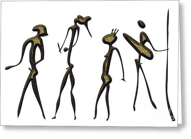Warriors - Primitive Art Greeting Card by Michal Boubin