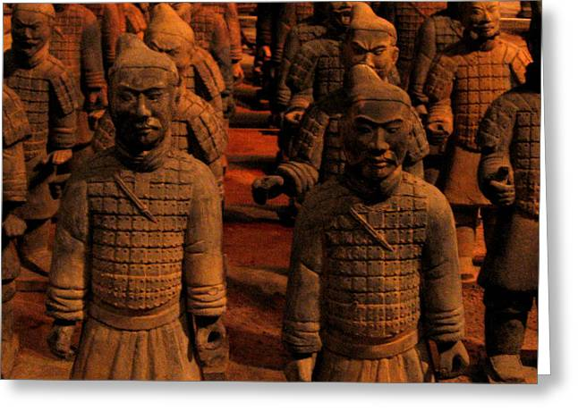 Greeting Card featuring the photograph Warriors Terra Cotta by Patricia Januszkiewicz