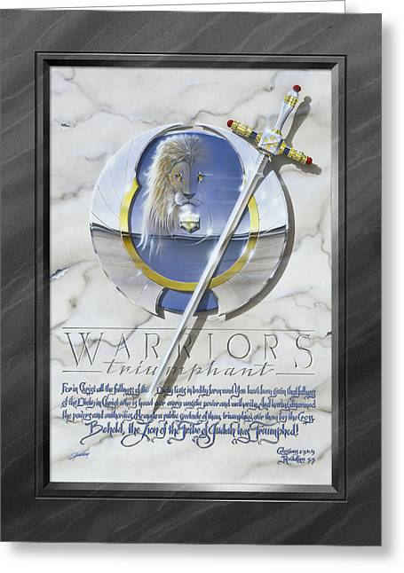 Warriors Triumphant With Faux Matte Greeting Card