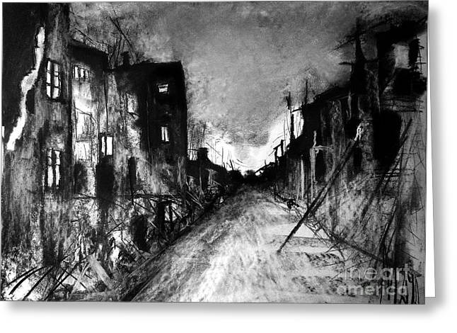 Greeting Card featuring the drawing Warsaw Ghetto 1945 by Maja Sokolowska