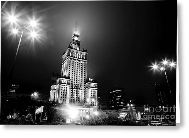 Warsaw Poland Downtown Skyline At Night Greeting Card