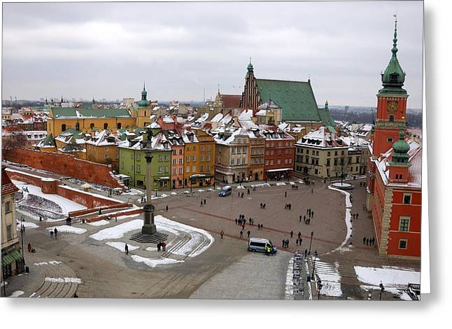 Warsaw Zamkowy Square Greeting Card by Steven Richman