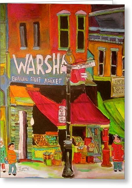 Warshaw's On The Main Montreal Memories Greeting Card by Michael Litvack