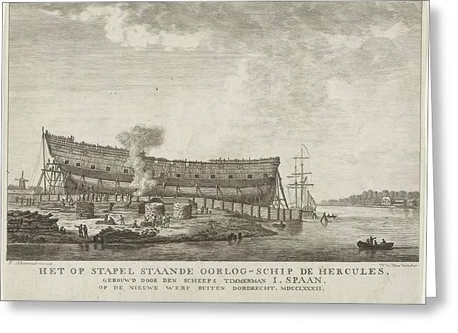 Warship Hercules, 1782, Johannes Schoenmakers Greeting Card