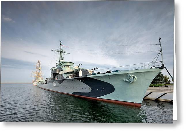 Warship  Greeting Card by Jan Sieminski